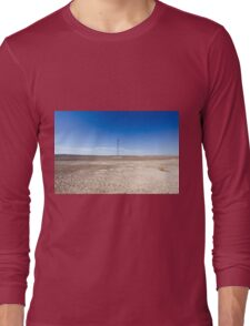 Electricity pylon and power lines in desert Long Sleeve T-Shirt
