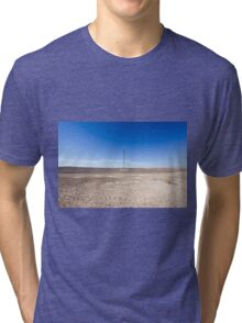 Electricity pylon and power lines in desert Tri-blend T-Shirt