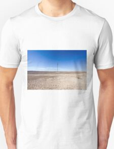 Electricity pylon and power lines in desert T-Shirt