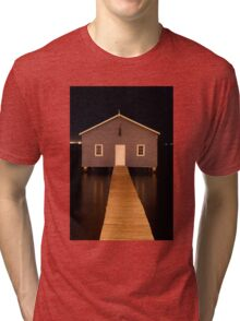 little boatshed on the river Tri-blend T-Shirt