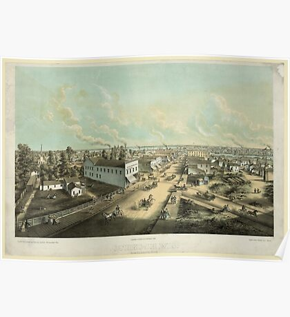Panoramic Maps Oshkosh Wis From HL Cottrill's Block lith published by Kurz Seifert Milwaukee Wis ; drawn after nature by L Kurz 2 Poster