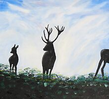 Stag Family by Dawn B Davies-McIninch