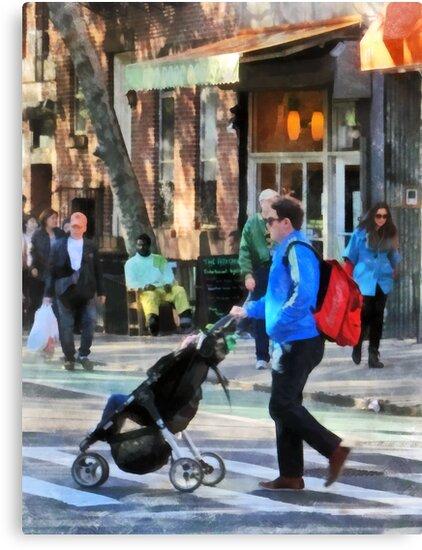 Daddy Pushing Stroller Greenwich Village by Susan Savad