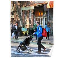 Daddy Pushing Stroller Greenwich Village Poster