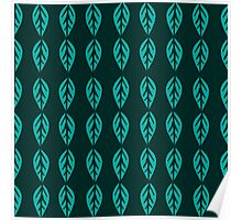 Turquoise Leaves in Dark Poster