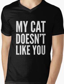 MY CAT DOESN'T LIKE YOU (Black & White) Mens V-Neck T-Shirt