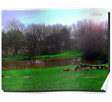Kansas Countryside Pond w/ lens Flare Poster