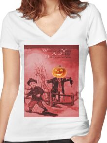 The Scarecrow (Vintage Halloween Card) Women's Fitted V-Neck T-Shirt