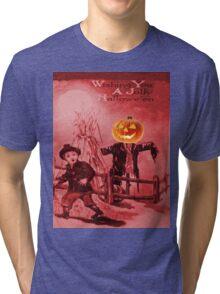 The Scarecrow (Vintage Halloween Card) Tri-blend T-Shirt