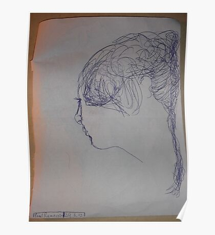 female head -(290312)- blue biro pen/A4 Poster