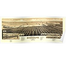 Panoramic Maps Bird's eye view of Superior Wis county seat of Douglas county 1883 Poster