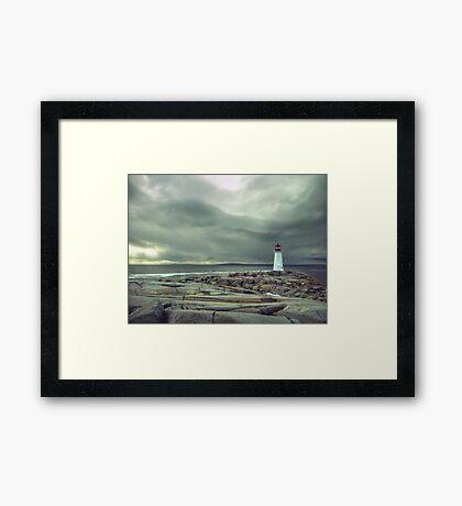 Stormy Sky over Nova Scotia Lighthouse - Peggys Cove Framed Print