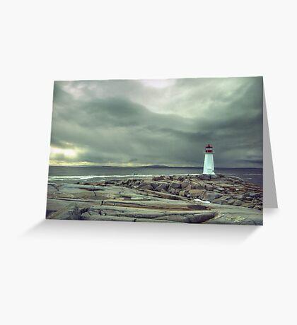 Stormy Sky over Nova Scotia Lighthouse - Peggys Cove Greeting Card