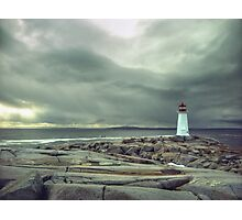 Stormy Sky over Nova Scotia Lighthouse - Peggys Cove Photographic Print