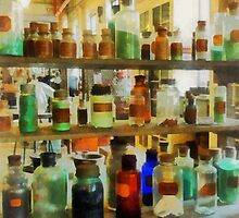 Bottles of Chemicals Green and Brown by Susan Savad