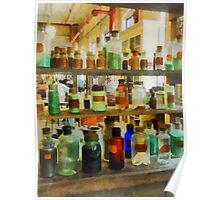 Bottles of Chemicals Green and Brown Poster