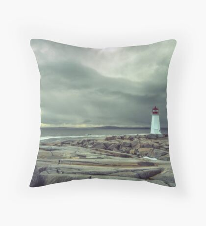 Stormy Sky over Nova Scotia Lighthouse - Peggys Cove Throw Pillow