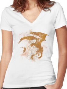 Dragonfight-cooltexture Women's Fitted V-Neck T-Shirt
