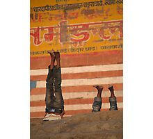 Doing Yoga on the Ghats Photographic Print