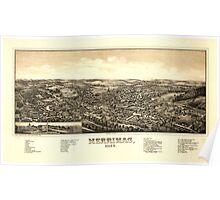 Panoramic Maps Merrimac Mass Poster