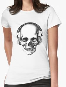 SKULL HEADPHONES Womens Fitted T-Shirt