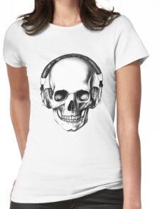 SKULL HEADPHONES Womens Fitted T-Shirt
