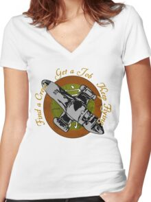 Keep Flying Women's Fitted V-Neck T-Shirt