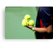 ballboy waiting on the side of a tennis court  Canvas Print