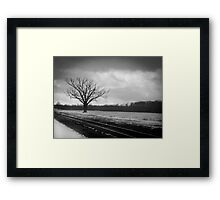 Rural Winter Railroad Tracks Framed Print