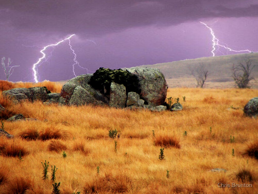 Lightning sky with rustic foreground by Chris Brunton