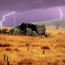 Lightning sky with rustic foreground by Christina Brunton
