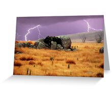 Lightning sky with rustic foreground Greeting Card