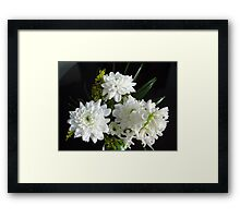 Purity - White Hyacinth and Dahlias Framed Print