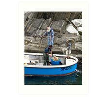 fishermen in blue boat Art Print