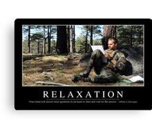 Relaxation: Inspirational Quote and Motivational Poster Canvas Print