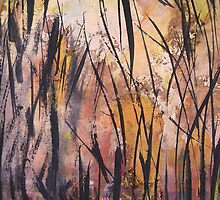 a view through scorched trees by banrai