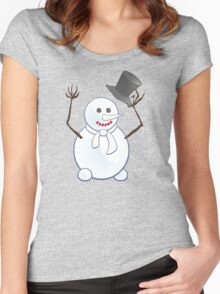 Snowman; New Year; Christmas Women's Fitted Scoop T-Shirt