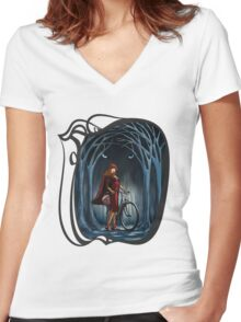 Art Nouveau RED RIDING HOOD Women's Fitted V-Neck T-Shirt