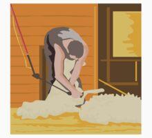 Farmer Farmworker Shearing Sheep WPA by retrovectors