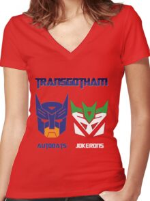 Batman and Transformers - TransGotham Women's Fitted V-Neck T-Shirt