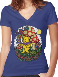 Grateful Dead dancing bear, fairy bears and mushrooms Women's Fitted V-Neck T-Shirt