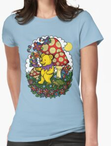 Grateful Dead dancing bear, fairy bears and mushrooms Womens Fitted T-Shirt