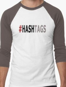Twitter Hashtag (Black/Grey) Men's Baseball ¾ T-Shirt