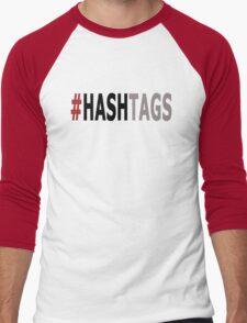 Twitter Hashtag (Black/Grey) Men's Baseball ¾ T-Shirt