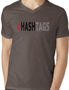 Twitter Hashtag (Black/Grey) Mens V-Neck T-Shirt