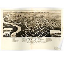 Panoramic Maps Bird's eye view of Miles City c s of Custer County Montana 1883 Poster