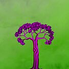 Purple tree on green by KatDoodling