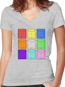 Gameboy Cartridge Pop Art Women's Fitted V-Neck T-Shirt