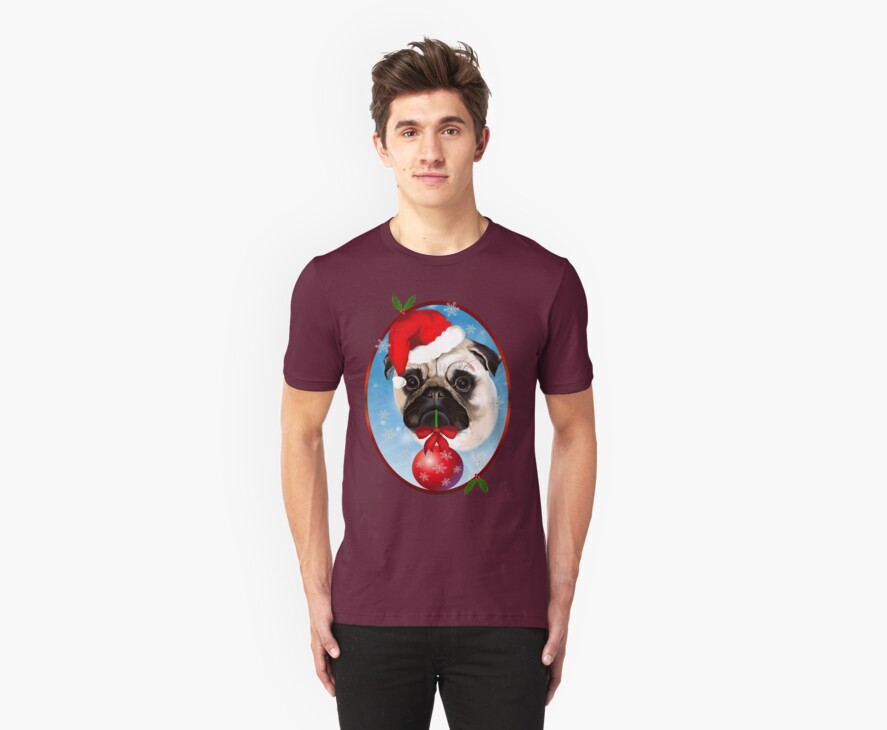 A Very Merry Christmas Pug Oval by Lotacats