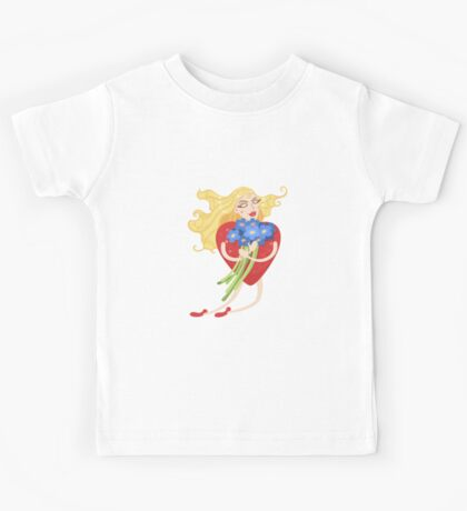 Woman with heart body flies with flowers in their hands Kids Tee